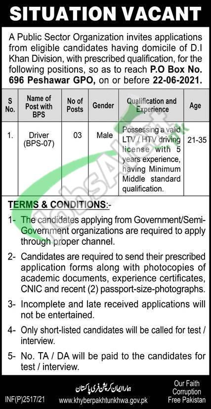 PO Box 696 Peshawar Jobs