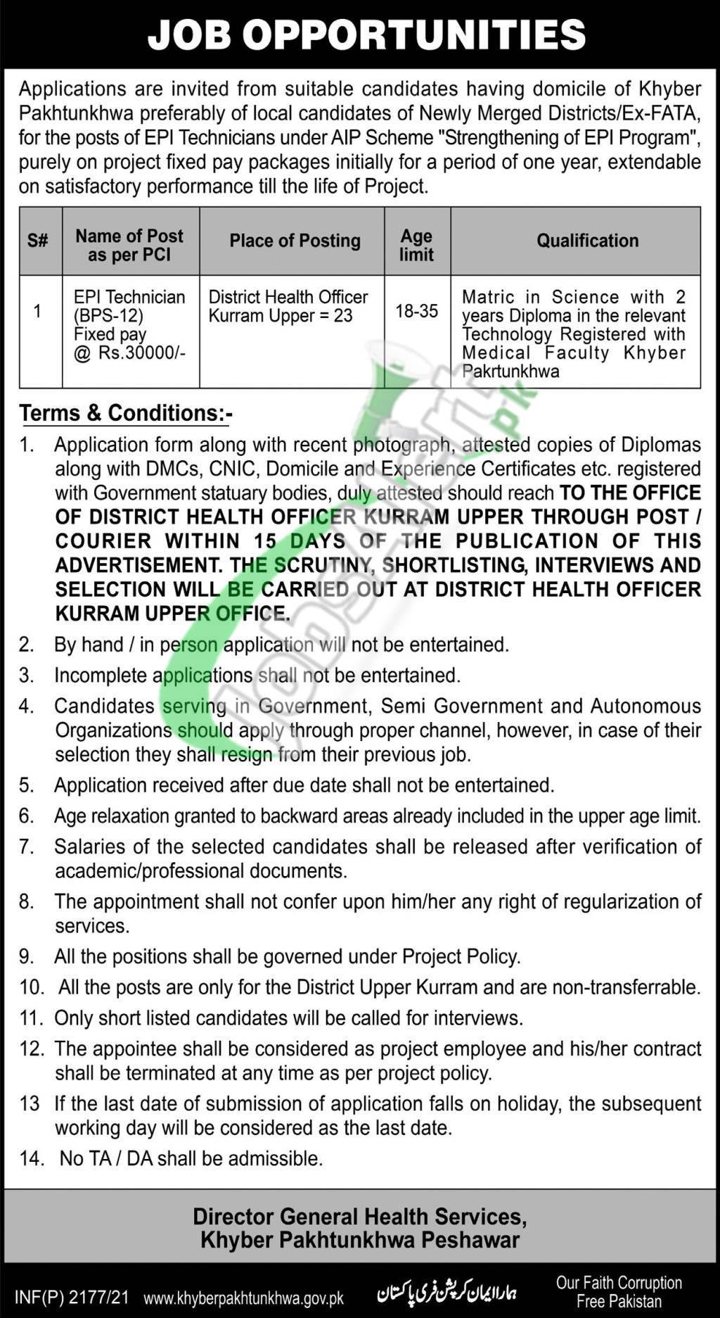 KPK Health Department Jobs