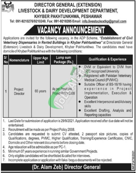 Livestock Department KPK Jobs 2021