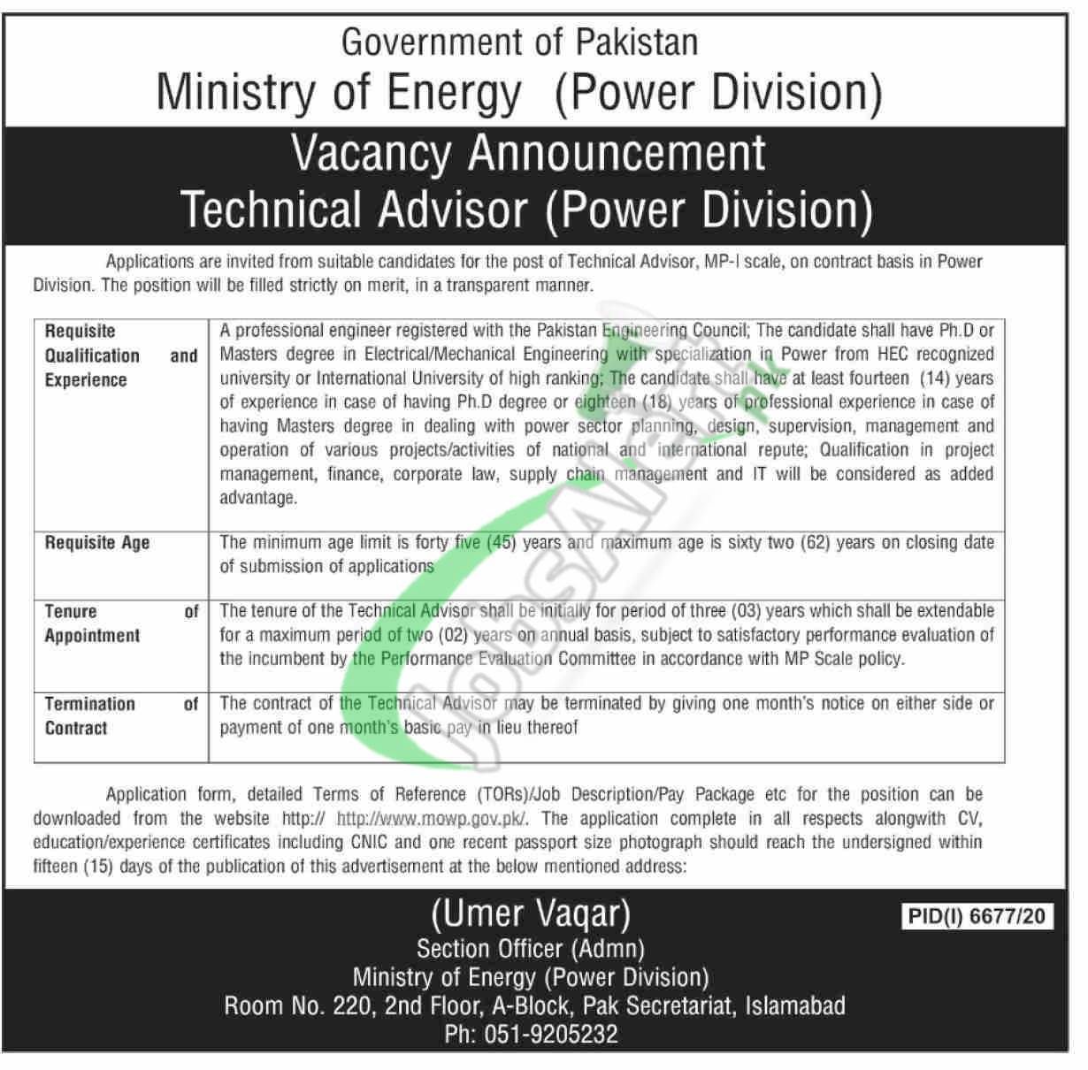 Ministry of Energy Power Division Islamabad Jobs