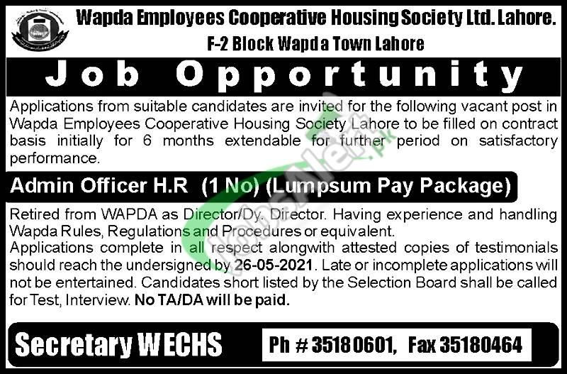 WAPDA Employees Cooperative Housing Society Jobs