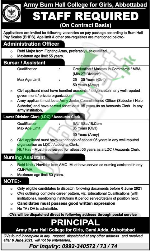Army Burn Hall College for Girl Jobs