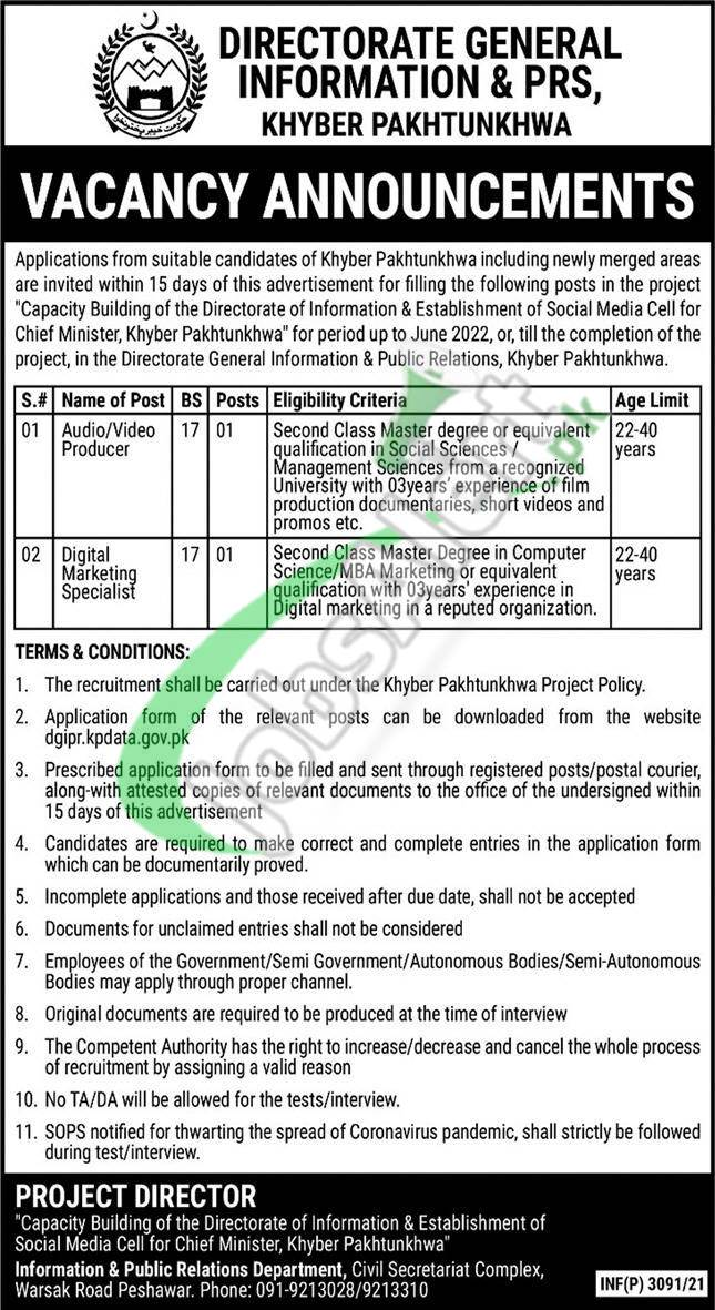 Directorate General Information & Public Relations KPK Jobs