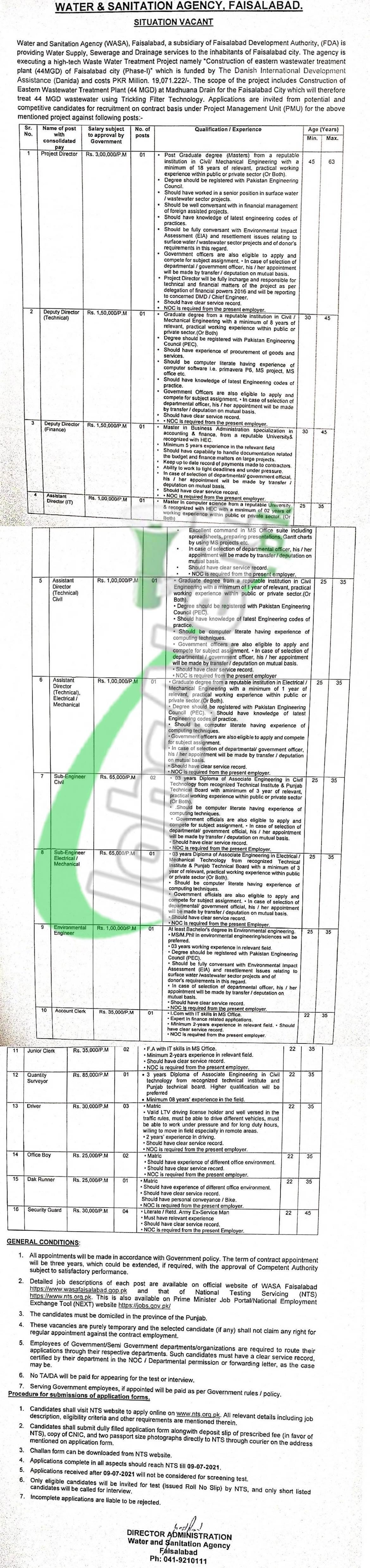 WASA Jobs 2021 Faisalabad