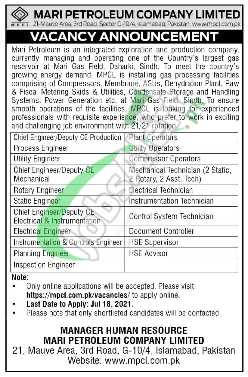 Mari Petroleum Company Limited Jobs