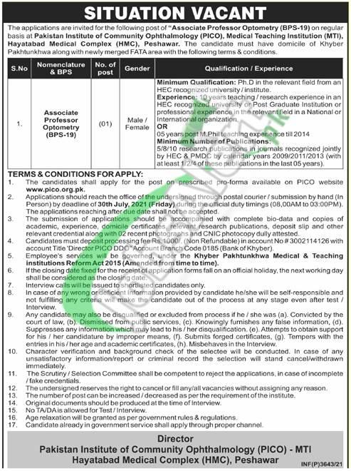 PICO Peshawar Jobs