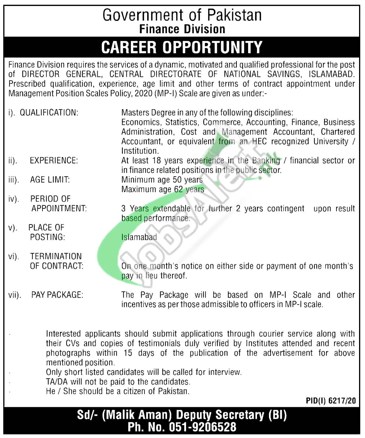 Finance Division Islamabad Jobs
