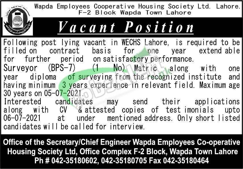 WECHS Lahore Jobs