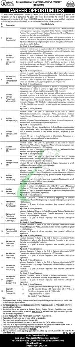 DG Khan Waste Management Company Jobs