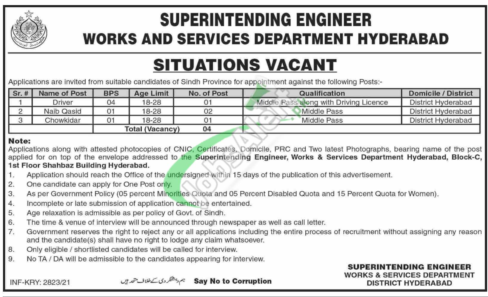 Works and Services Department Hyderabad Jobs 2021