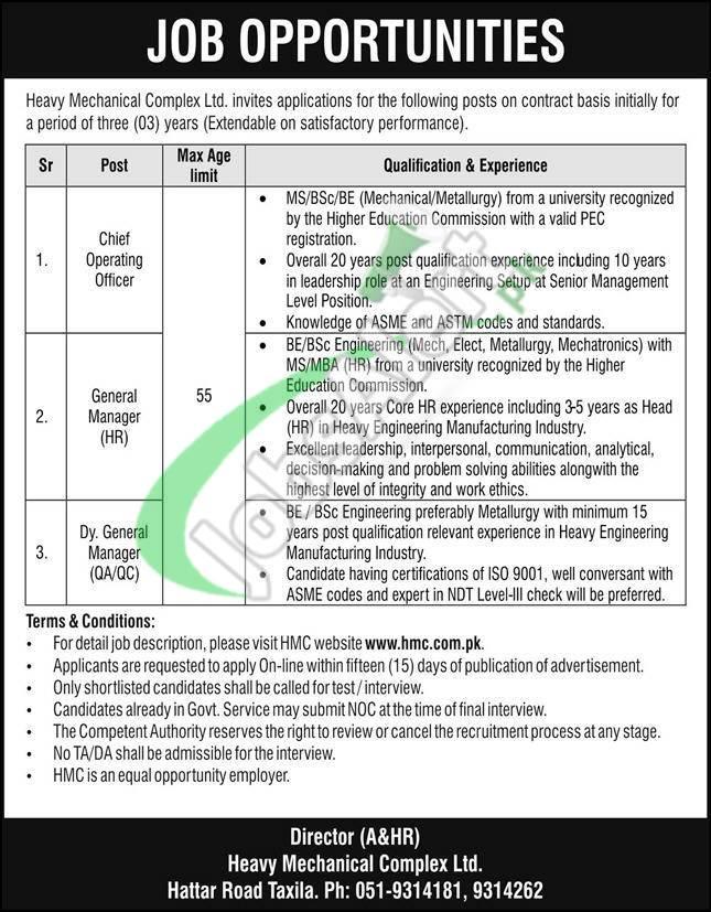 Jobs in HMC Taxila