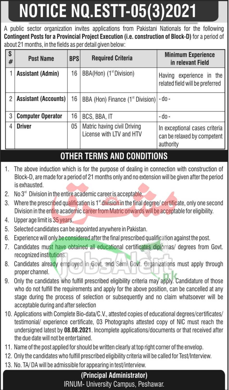 Irnum Hospital Peshawar Jobs
