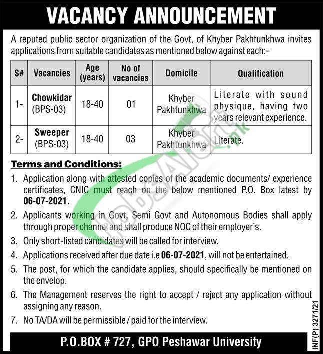 PO Box 727 Peshawar Jobs