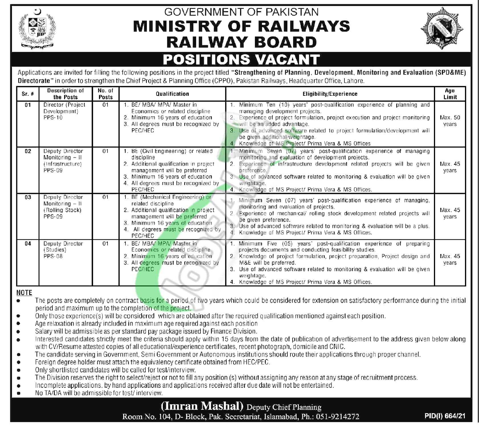 Railway Headquarter Lahore Jobs