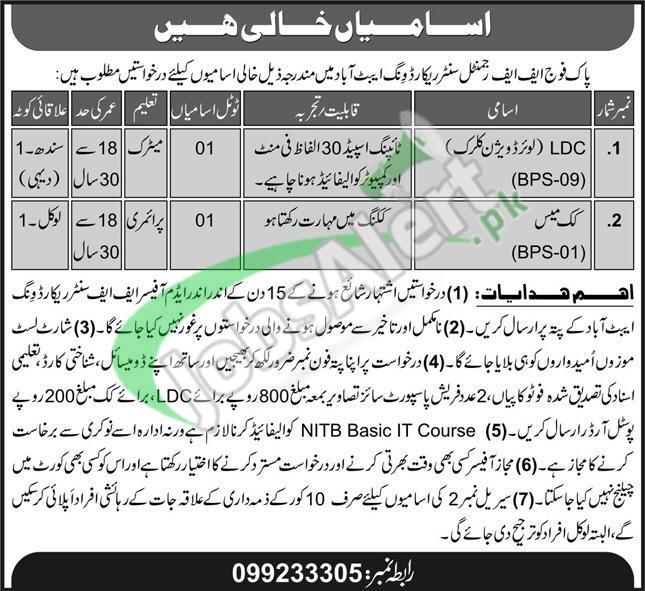 Abbottabad FF Regimental Centre Record Wing Jobs