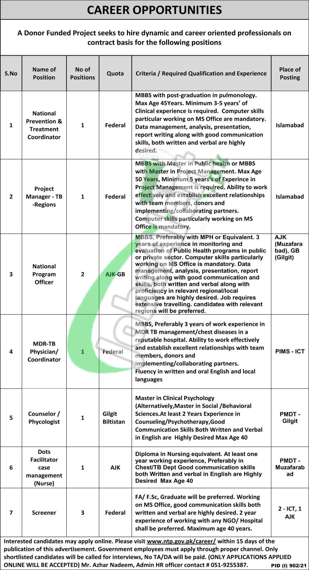 National TB Control Program Jobs