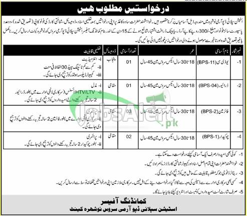 Station Supply Depot Army Service Nowshera Cantt Jobs
