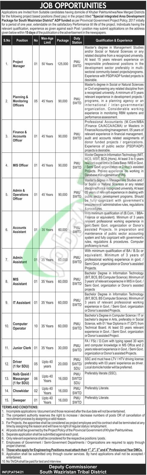 Deputy Commissioner South Waziristan Jobs