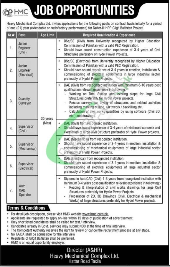 HMC Taxila Jobs