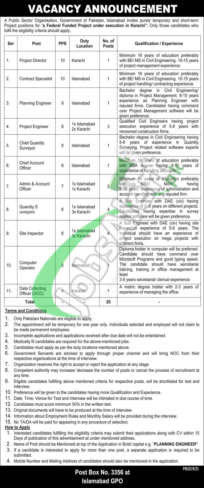 PO Box 3356 GPO Islamabad Jobs