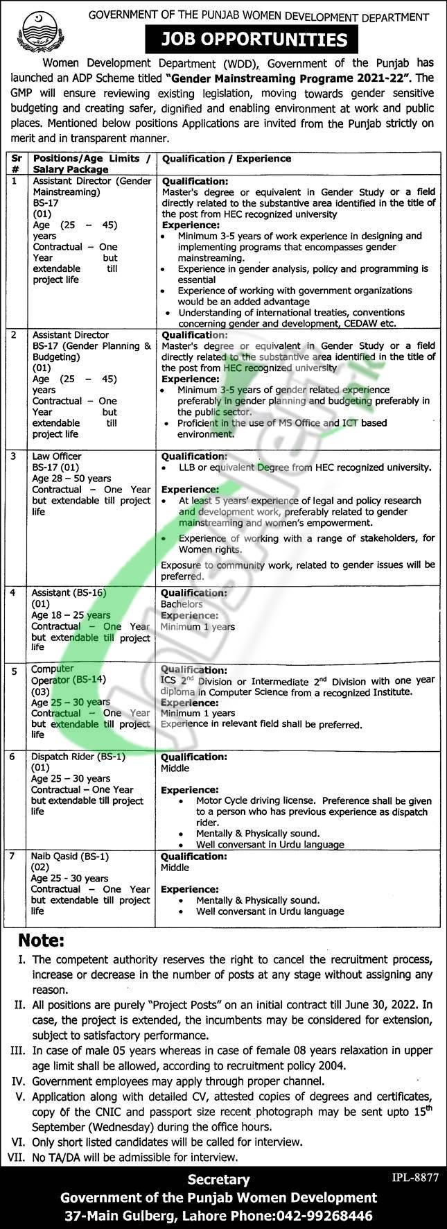 Punjab Women Development Department Jobs