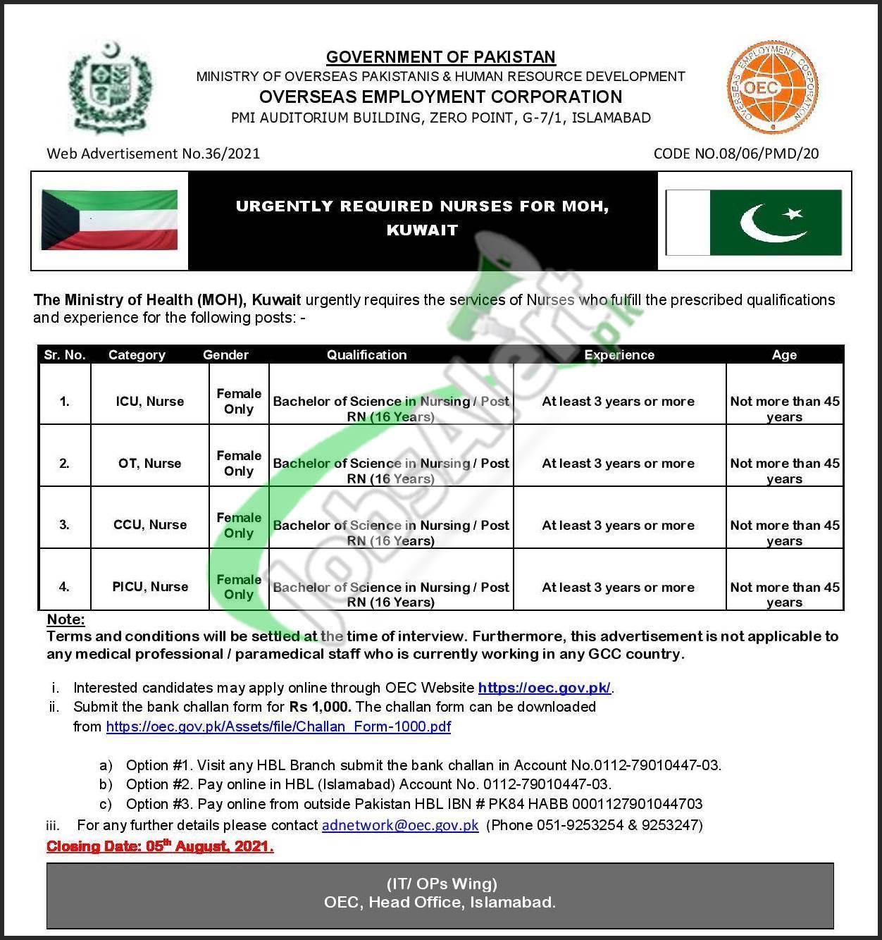 Kuwait Jobs for Pakistani Nurse