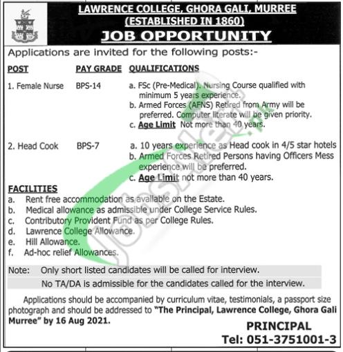 Lawrence College Ghora Gali Murree Jobs