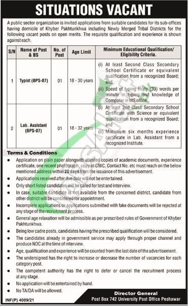 PO Box 742 Peshawar Jobs 2021