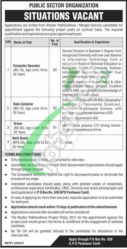 PO Box 630 GPO Peshawar Jobs