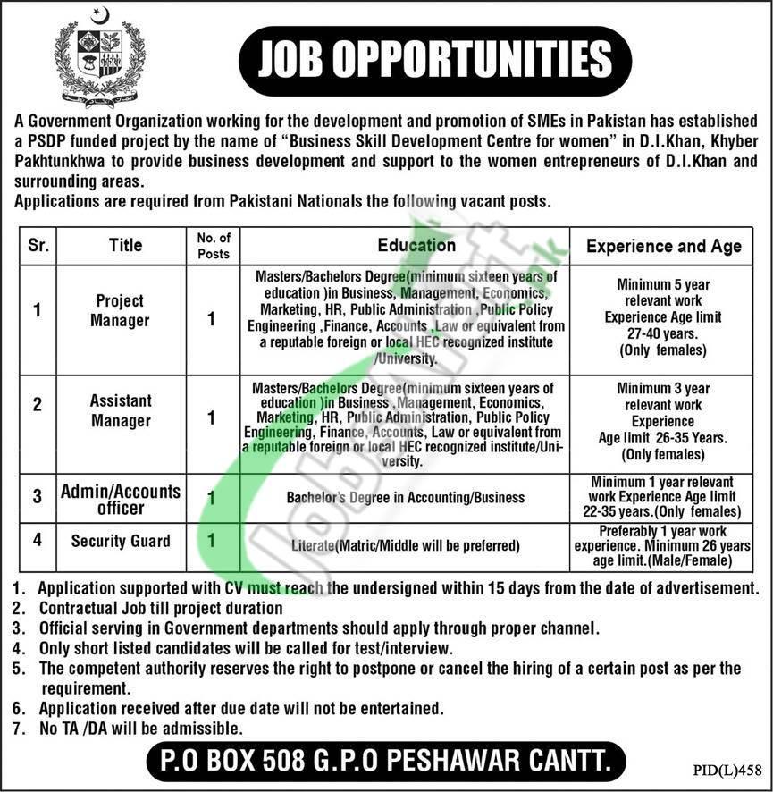 Po Box 508 Peshawar Jobs