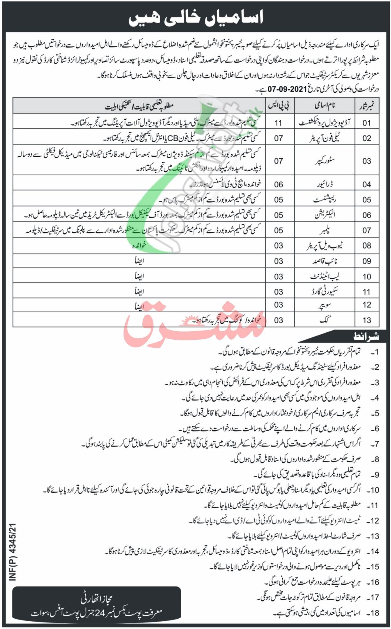 PO Box 24 GPO Swat Jobs
