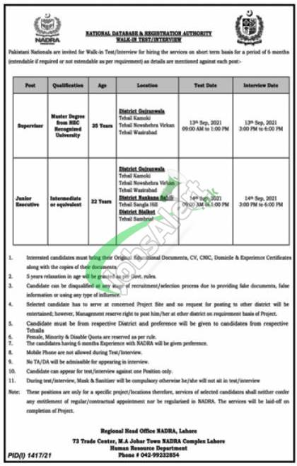 NADRA Lahore Jobs