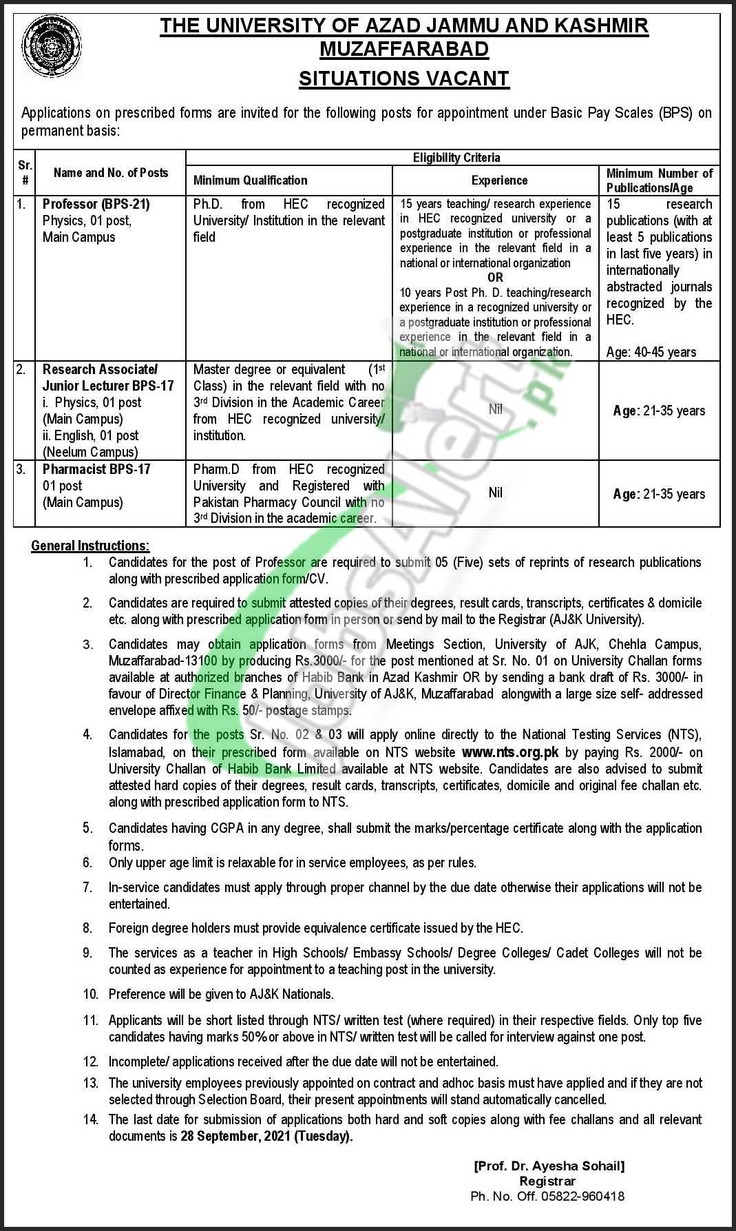 The University of Azad Jammu & Kashmir Muzaffarabad Jobs