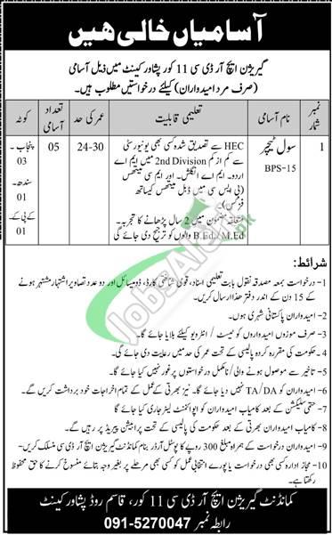 Garrison Human Resource Development Center Peshawar Jobs 2021 Career Offers