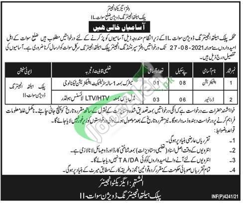 Public Health Engineering Department KPK Jobs 2021 Swat
