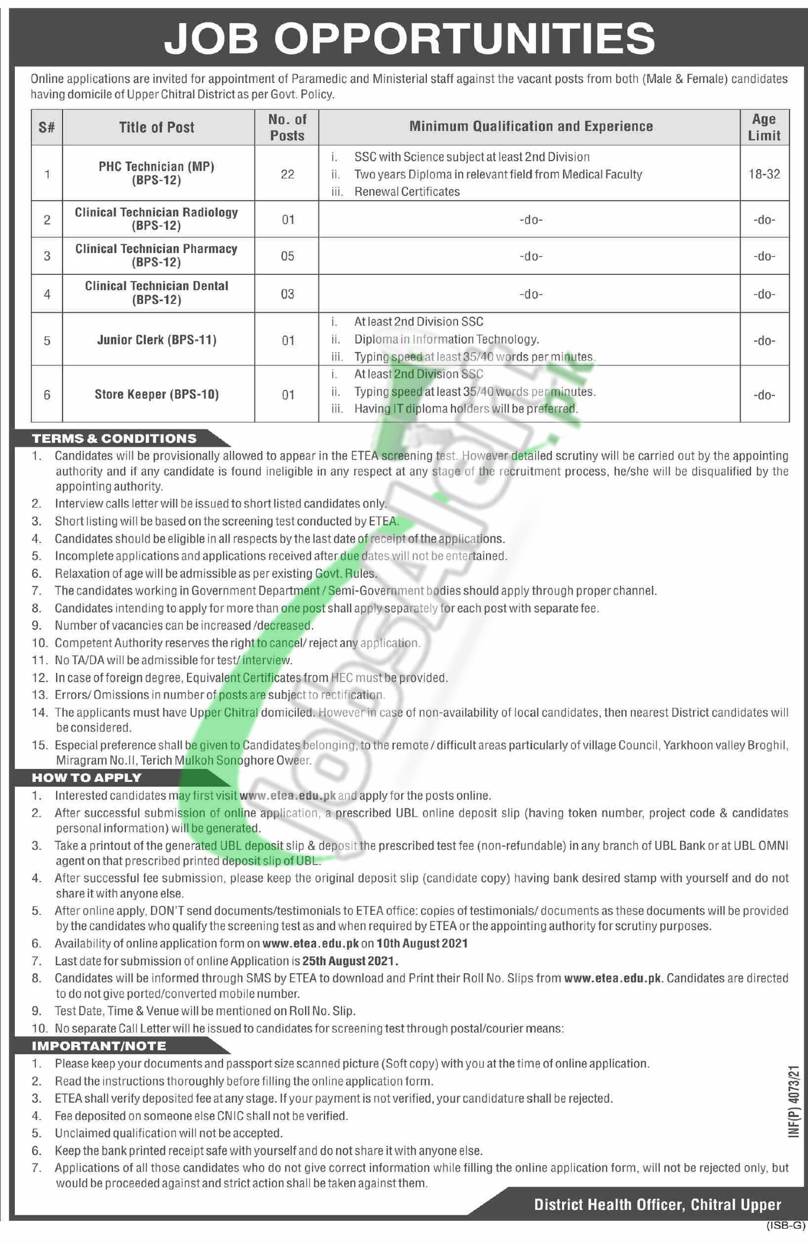 District Health Authority Chitral Upper Jobs