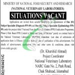 National Veterinary Laboratory Islamabad Jobs