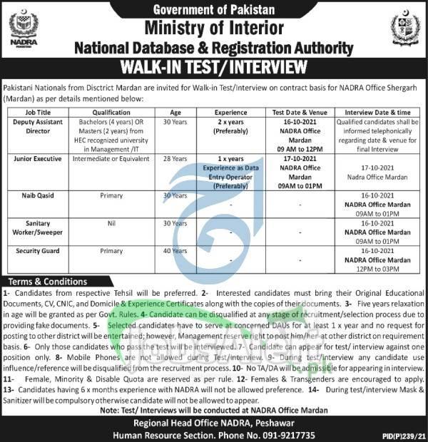 NADRA Peshawar Jobs 2021