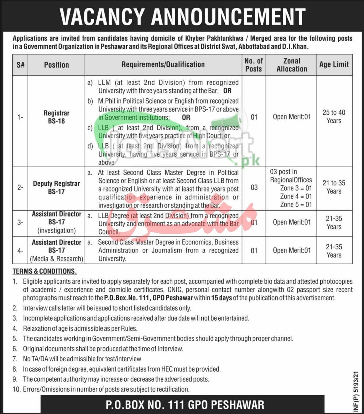 PO Box 111 Peshawar Jobs