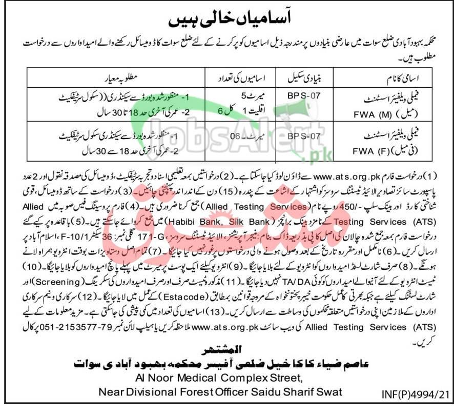 Population Welfare Department Swat Jobs
