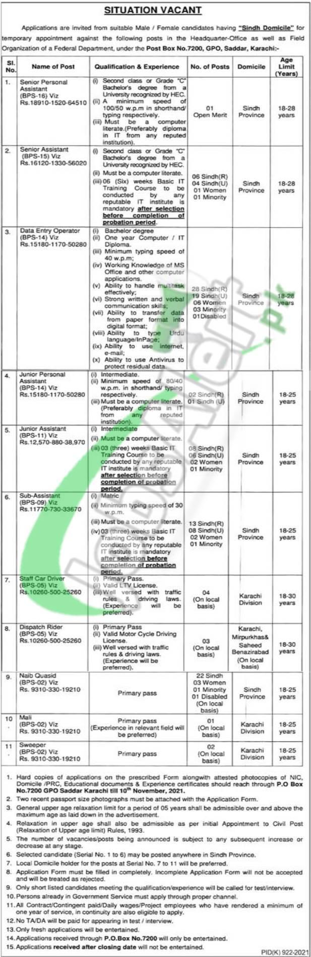 PO Box 7200 Karachi Jobs 2021 Application Form Download Online