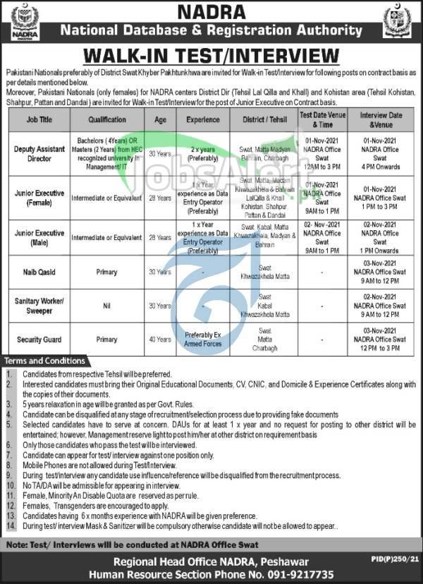 NADRA Jobs 2021 in Peshawar KPK Pakistan (Male & Female)