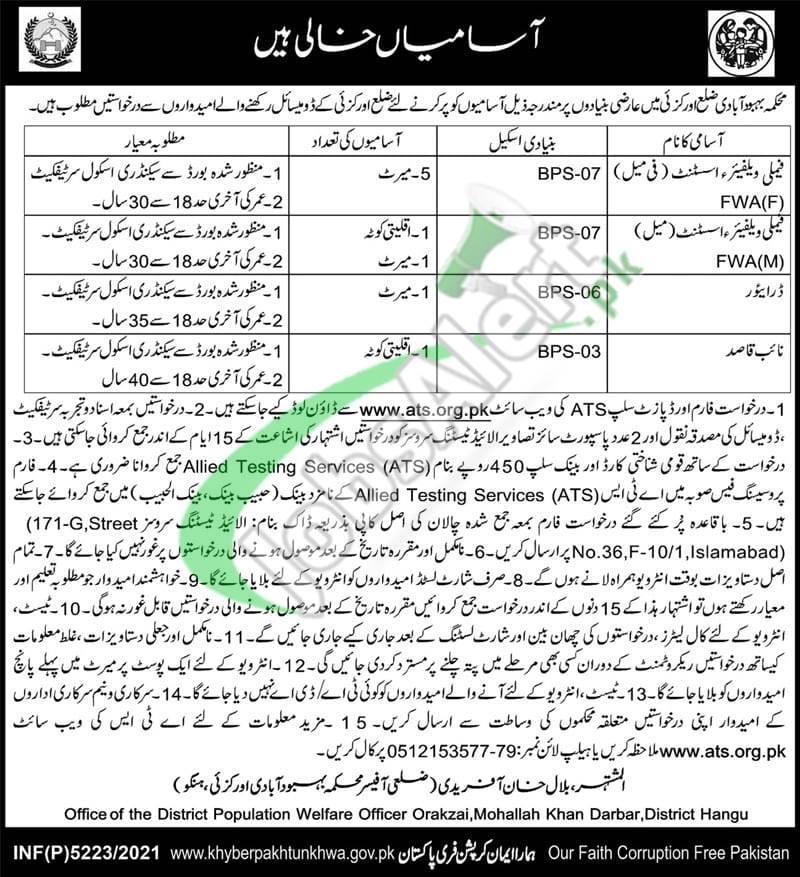 Population Welfare Department KPK Jobs 2021 Orakzai for Family Welfare Assistant